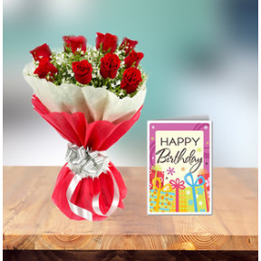 Exclusive Birthday Flowers And Card (18 Red Roses Bouquet and Birthday Card)
