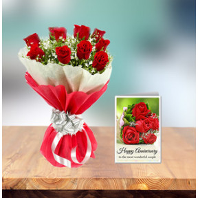 Exlcusive Anniversary Flowers And Card (18 Red Roses Bouquet and Anniversary Card)