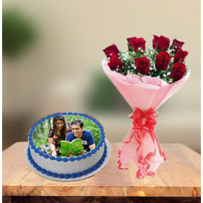 Photo Cake and  Red Roses (1 Kg Cake & 12 Red Roses)