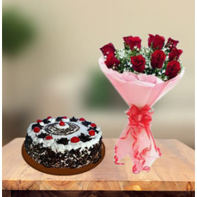 Black Forest Gateau Cake and  Red Roses (1 Kg Cake & 6 Red Roses)