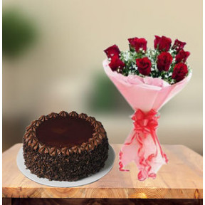 Choco Chip Cake and  Red Roses (1 Kg Cake & 6 Red Roses)