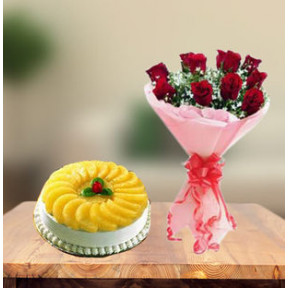 Premium Pineapple Cake and  Red Roses (1 Kg Cake & 6 Red Roses)