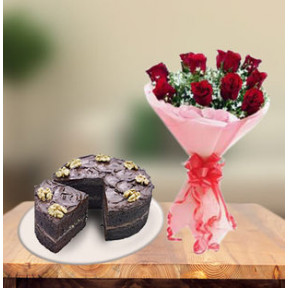 Choco Walnut Cake and  Red Roses (1 Kg Cake & 12 Red Roses)