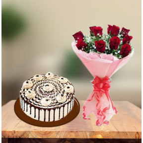 Coffee Cake and  Red Roses (1 Kg Cake & 6 Red Roses)