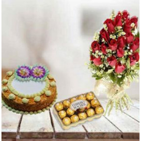Perfect Love Combination (12 Red Roses,1Kg White Forest Cake,16PCs Ferrero Rocher)