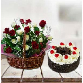 Cake With Red and  White Roses (24 Red & White Roses Basket with 1 Kg Vanilla Cake)
