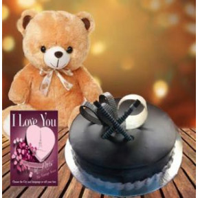 Cake and  Teddy With Card (1/2 Kg Chocolate Truffle Cake, 12 Inch Teddy Bear with a Greeting Card)