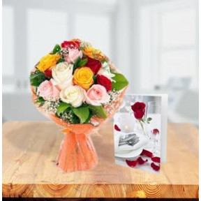 Mixed Roses With Greeting Card (24 Mixed Roses Bouquet With Card)