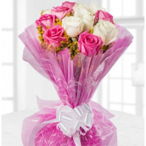 Pink And White Cuteness (9 Pink Roses and 9 White Roses Bouquet)