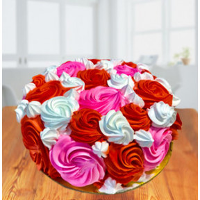 Colorful Roses Ombre Cake (Colorful Roses Ombre Cake Strawberry 1 Kg)