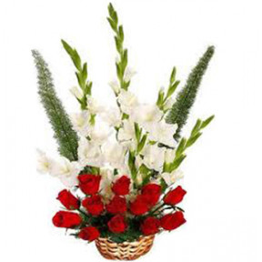 Red Roses and  White Glads Basket (18 Roses & 12 White Glads)