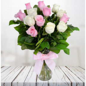 Pink And White Cuteness In Vase (9 Pink Roses and 9 White Roses Vase)