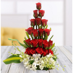 Red Roses And Orchids Arrangement (20 Red Roses and 5 White Orchids Arrangement)