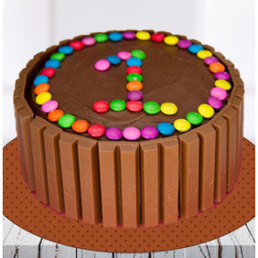 Kit Kat Number Cake With Gems (1 Kg Cake)
