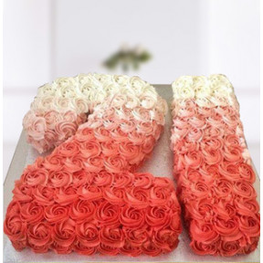 Number Pink Roses Ombre Cake (2.5 Kg Single Digit Cake)