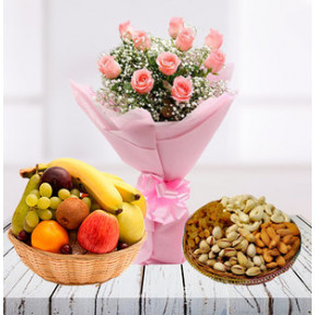 Pink Roses Exclusive Combo (12 Pink Roses Bunch,1/2Kg Dry Fruits-2Kg Fruit Basket)
