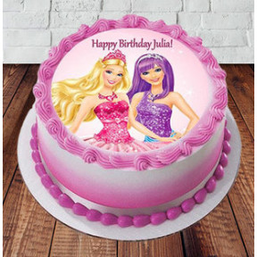 Barbie Happy Birthday Cake (1 Kg Strawberry Cake)