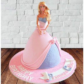Barbie Gown Fondant Cake (2 Kg Cake)