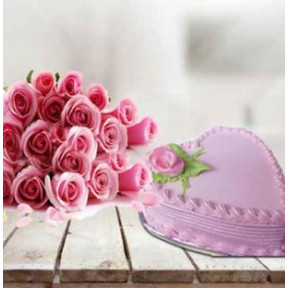 Lovely Pink Combo For Her (1 Kg Strawberry Cake with 12 Pink Roses)