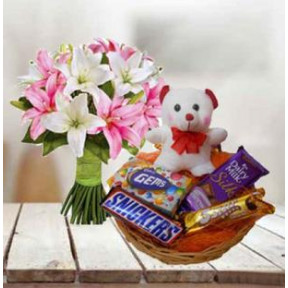 Lily, Teddy and  Chocolate Basket (Lilies, Teddy Bear & Chocolate Basket (Small))