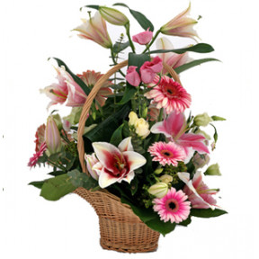 Exclusive Pink Flowers Basket (3 Lily + Roses, Gerbera, Carnations (12 nos))