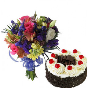 Mixed Flowers With Cake (12 Mixed Flowers,1/2 Kg Vanilla Cake)