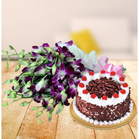 Orchids and  Cake (6 Orchid Stems & 1/2 Kg Black Forest Cake)