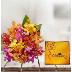 Mixed Orchids With Cadbury's Celebrations Chocolate (12 Mixed Orchids,Cadburys Celebration)