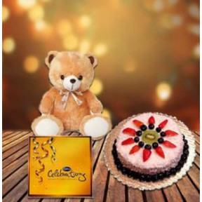 Cake, Chocolate and  Teddy (1/2 Kg Pineapple Cake, Cadbury Celebration & 9 Inch Teddy)