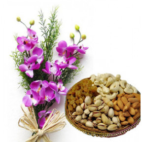 Flowers With Dry Fruits (6 Orchids Bouquet with 1/2 Kg Mix Dry Fruits)
