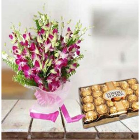 Orchids and  Ferrero Rocher Chocolate (6 Purple Orchid Bouquet,16 pc Ferrero Rocher)