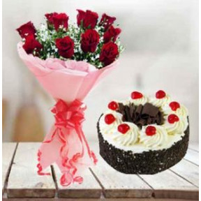 Black Forest Cake and  Rose Bouquet (1/2 Kg Black Forest Cake & 24 Red Roses)