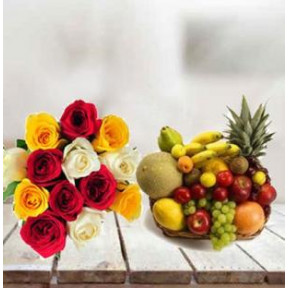 Mixed Roses Bouquet With Fruit Basket