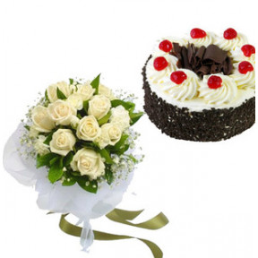 Black Forest Cake and  White Roses (1/2 Kg Black Forest Cake & 12 White Roses)