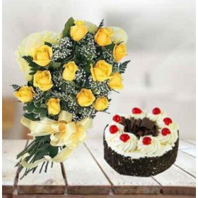Black Forest Cake and  Yellow Roses (1/2 Kg Black Forest Cake & 12 Yellow Roses)