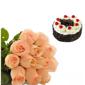Black Forest Cake and  Peach Roses (1/2 Kg Black Forest Cake & 12 Peach Roses)
