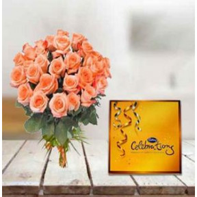 Peach Roses and  Chocolate (24 Peach Roses,Cadbury Celebration Pack)
