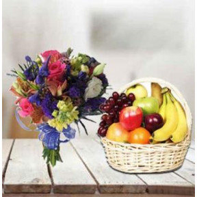 Fresh Fruit Basket With Flowers (2 Kg Fresh Fruits with 12 Flowers Bouquet)