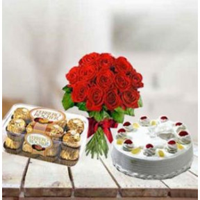 Cake, Flowers and  Chocolates (1/2 Kg Pineapple Cake, 12 Red Roses, 16 pc Ferrero Rocher)