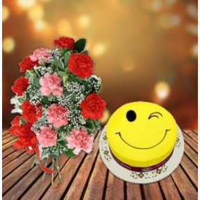 Perfect Combination (1 Kg Smiley Cake with 18 Carnations)