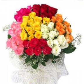 Colourful and  Bright (50 Mix Roses Bouquet)