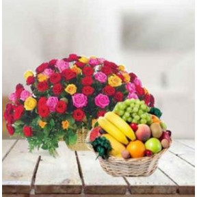Mixed Roses With Fruits Basket (24 Mixed Roses & 5 Kg Fresh Fruits Basket)