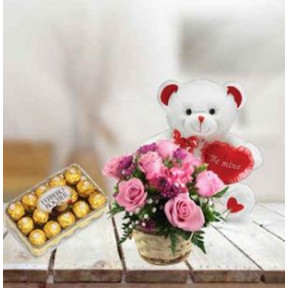 Pink Roses, Teddy and  Chocolate