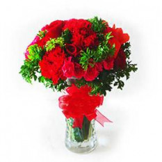 Vase Arrangement of Red Roses & Red Carnations with fillers