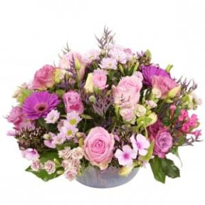 Biedermeier Flower Arrangement Pink Shades About 25 Cm (Medium)
