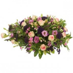 Mourning Oval Approx. 75Cm Pink Purple With Pink Roses (Small)