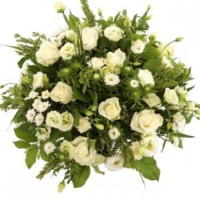 Biedermeier Approx. 50Cm White Roses And Flowers (Small)