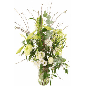Picked White Bouquet Incl. Glass Milk Container (Medium)