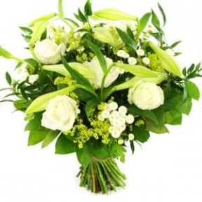 Long-Stemmed Bouquet Of White Lily And White Roses (Small)