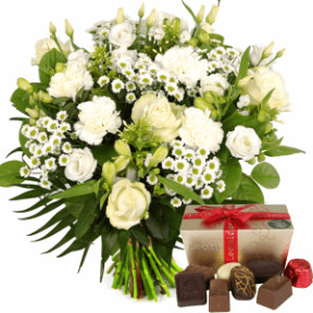 White Flowers + Leonidas Chocolates (Medium)
